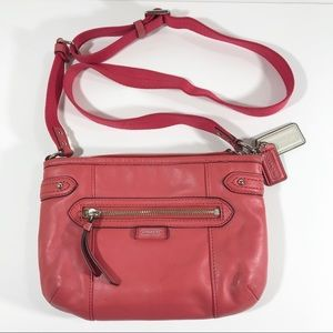 Coach pink leather swing pack cross body purse